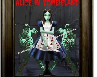 Alice in Zombieland Alice in Wonderland Zombie Art Print 8 x 10 Goth Horror