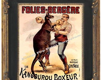 Victorian Kangaroo Boxer Art Print 8 x 10 - Boxing French Ad