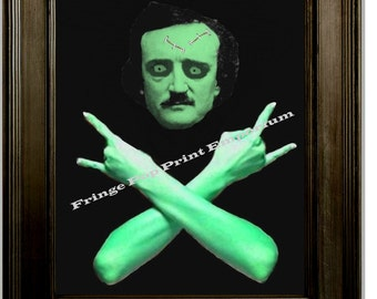 Zombie Heavy Metal Edgar Allan Poe Art Print 8 x 10 - Goth Lowbrow Art - Homeboy