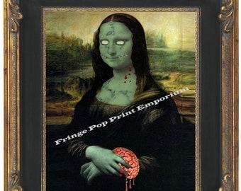 Zombie Mona Lisa Art Print 8 x 10 - Leonardo Da Vinci Fine Art Pop Surrealism Psychobilly Goth Horror