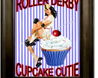 Roller Derby Art Print 8 x 10 - Stripes Cupcake Cutie Roller Skating Pinup Pin Up