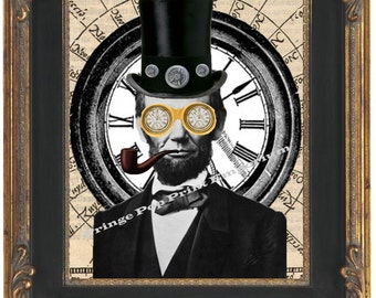 Abraham Lincoln Victorian Steampunk Art Print 8 x 10 - Altered Art - Smoking Pipe