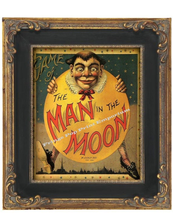 Victorian Man in the Moon Art Print 8 x 10 - Vintage Advertisement