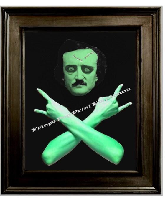Zombie Heavy Metal Edgar Allan Poe Art Print 8 x 10 - Goth Lowbrow Art - Homeboy