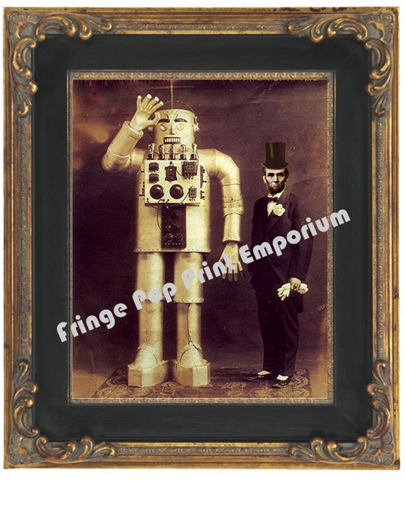 Victorian Abraham Lincoln With Robot Art Print 8 x 10 - Cabinet Card Style - Steampunk