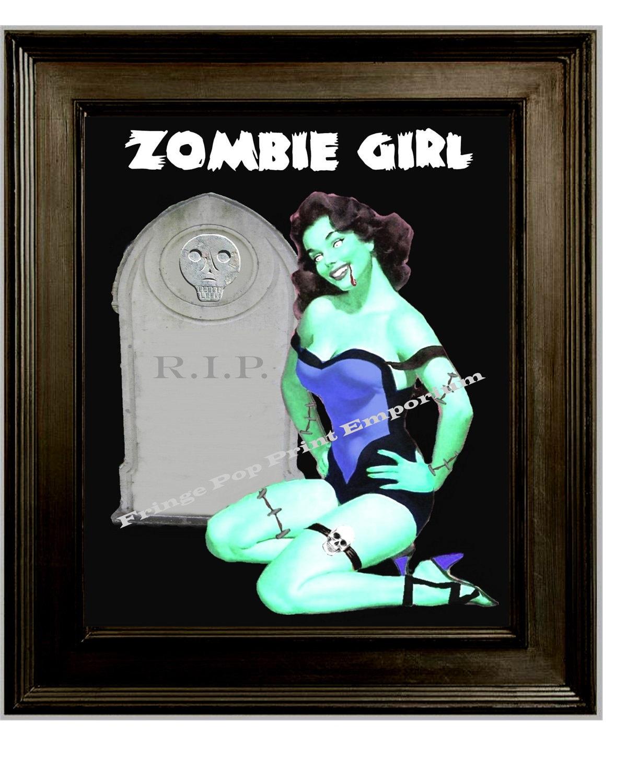 Zombie Girl Pin Up Art Print 8 x 10 Pinup Goth Horror