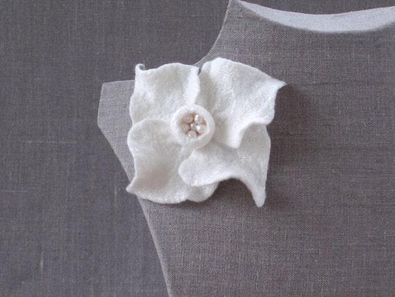 Original felted flower brooch, white color, merino wool