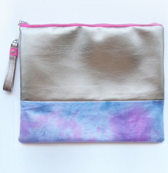 SALE - Mini Hand Dyed Purple Tones and Metallic Pewter Clutch Bag