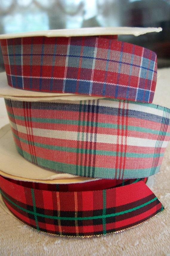 "NWT: Three Rolls ""PLAIDS"" Fabric Ribbon 10 Feet 1 In. CLOSEOUT"