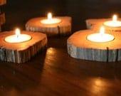 Set of 8 Wooden Cedar Candle Holders - Wedding Decor Rustic Cabin