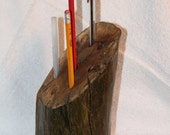 Heavy Driftwood Pen Pencil Holder - Rustic Cabin Decor - Office Paperweight