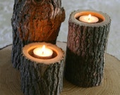 Set of 3 - Tree Branch Candle Holders - Wood Candle Holder for Wedding, Center Piece,  Rustic Decor