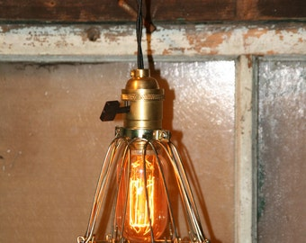 Industrial Hanging Pendant Light Vintage Style Wire Cage Guard - Lamp