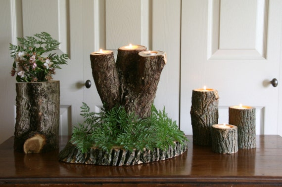 Reclaimed wood tree branch candle holder wedding center piece