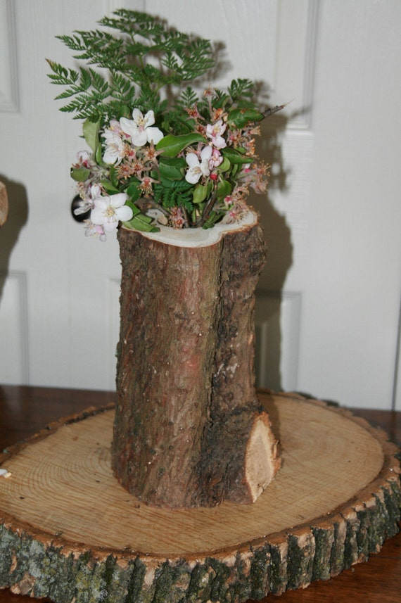 Reclaimed wood tree stump flower vase by industrialrewind - Great decorative flower vase designs ...
