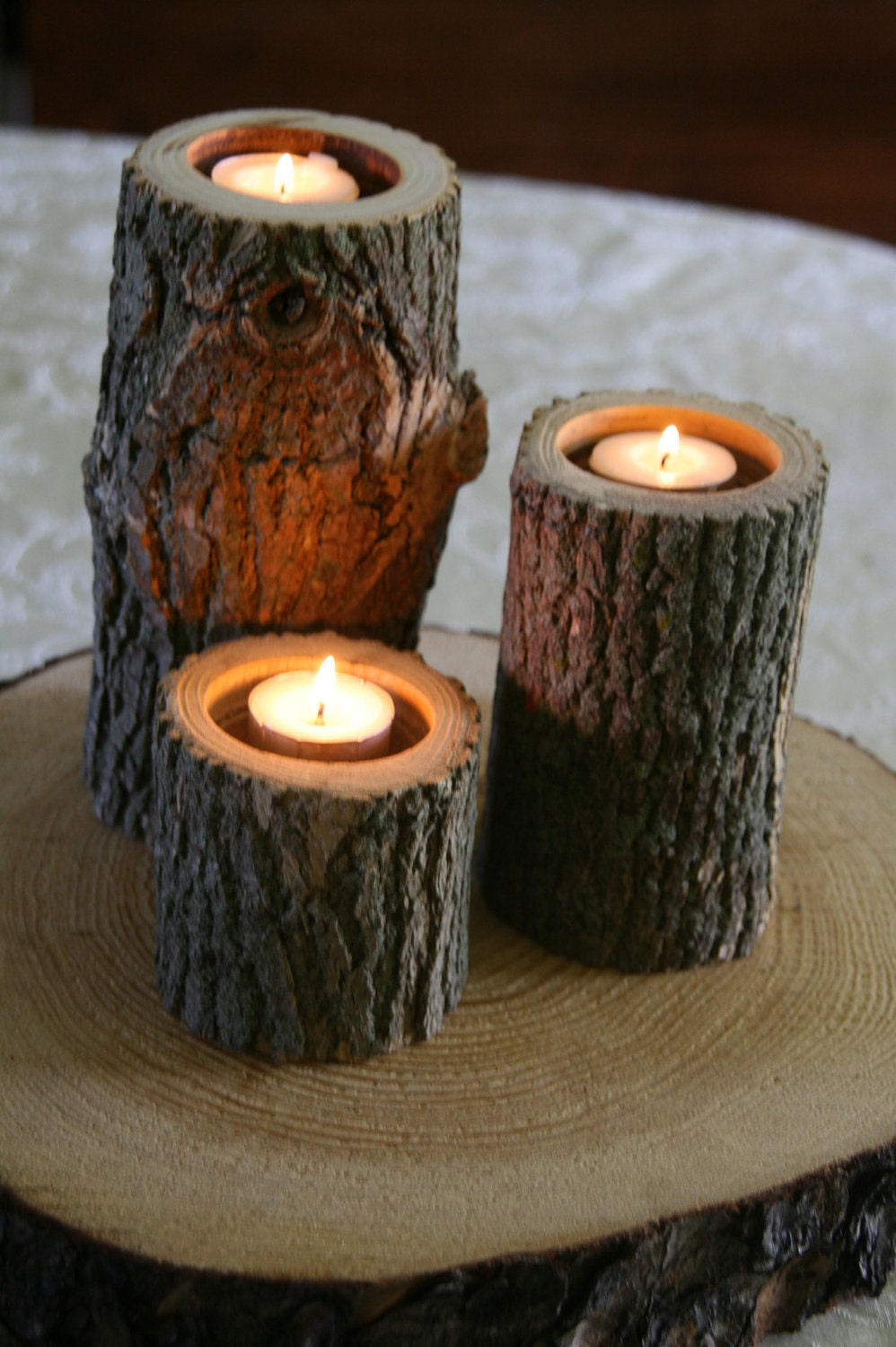 Set Of 3 Tree Branch Candle Holders Wood Candle Holder For