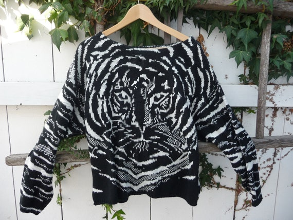 Oversized 80's 90's Slouchy Tiger Print  Animal Pullover Sweater