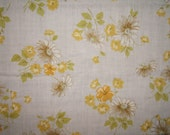 Vintage Sheet Fat Quarter Daisies and Yellow Flowers