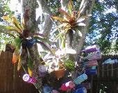 Whimsical Bottle Tree Bottle/Bpttles OOAK Enchanted Garden Decor /  Hand Painted recycled glass Bottle /fairy garden