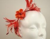 Spring fascinator, poppy red feathers, handmade beaded felt flower