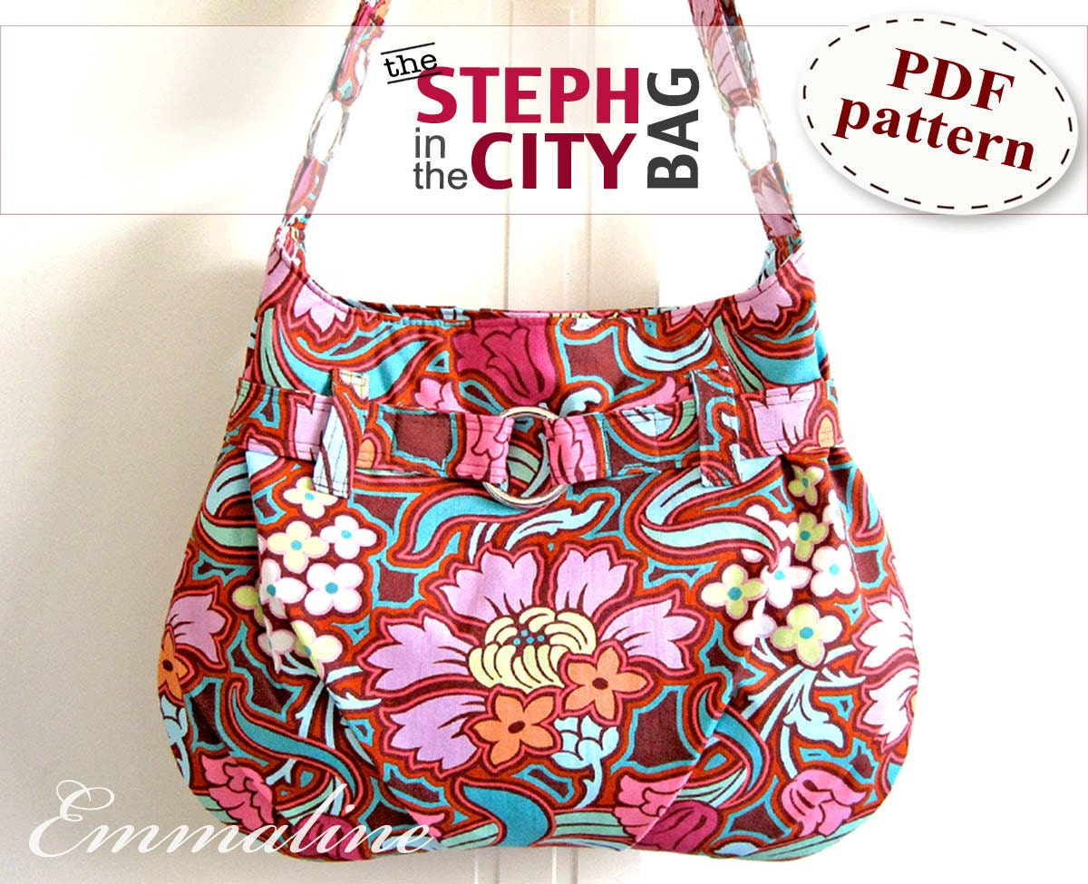 Free Patterns For Purses And Bags : Steph In The City Bag PDF Purse Pattern Handbag by EmmalineBags