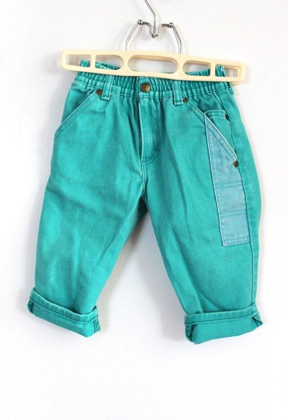 Vintage Oshkosh Aqua Jeans (Size 2T)