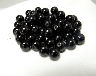 8mm Black Onyx Smooth Round Beads 50 Beads #222-4128