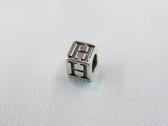 "Sterling Silver "" H "" 5.5mm Block"