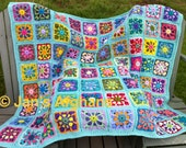 Kaleidoscope crocheted afghan kaleidoscope granny squares multi-colored with sea green (turquoise/aqua) border MADE TO ORDER