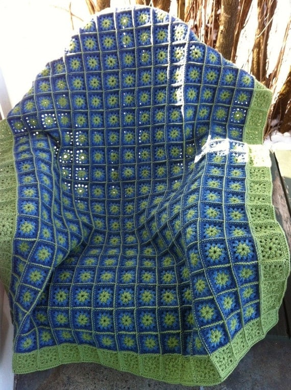 Crocheted granny square afghan fern green blues--READY TO SHIP