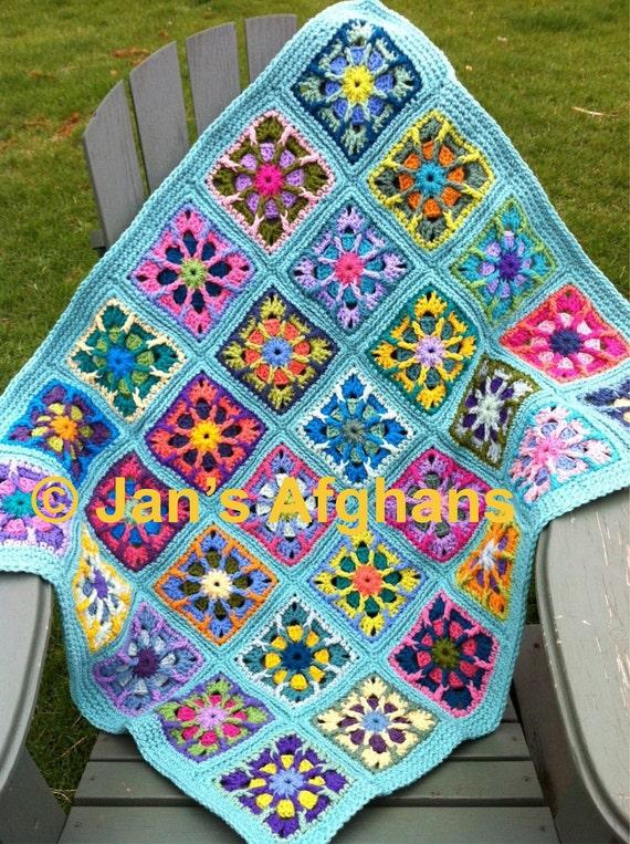 "Kaleidoscope crocheted BABY afghan baby blanket 30""x36"" kaleidoscope granny squares turquoise (light seafoam) border READY to SHIP"