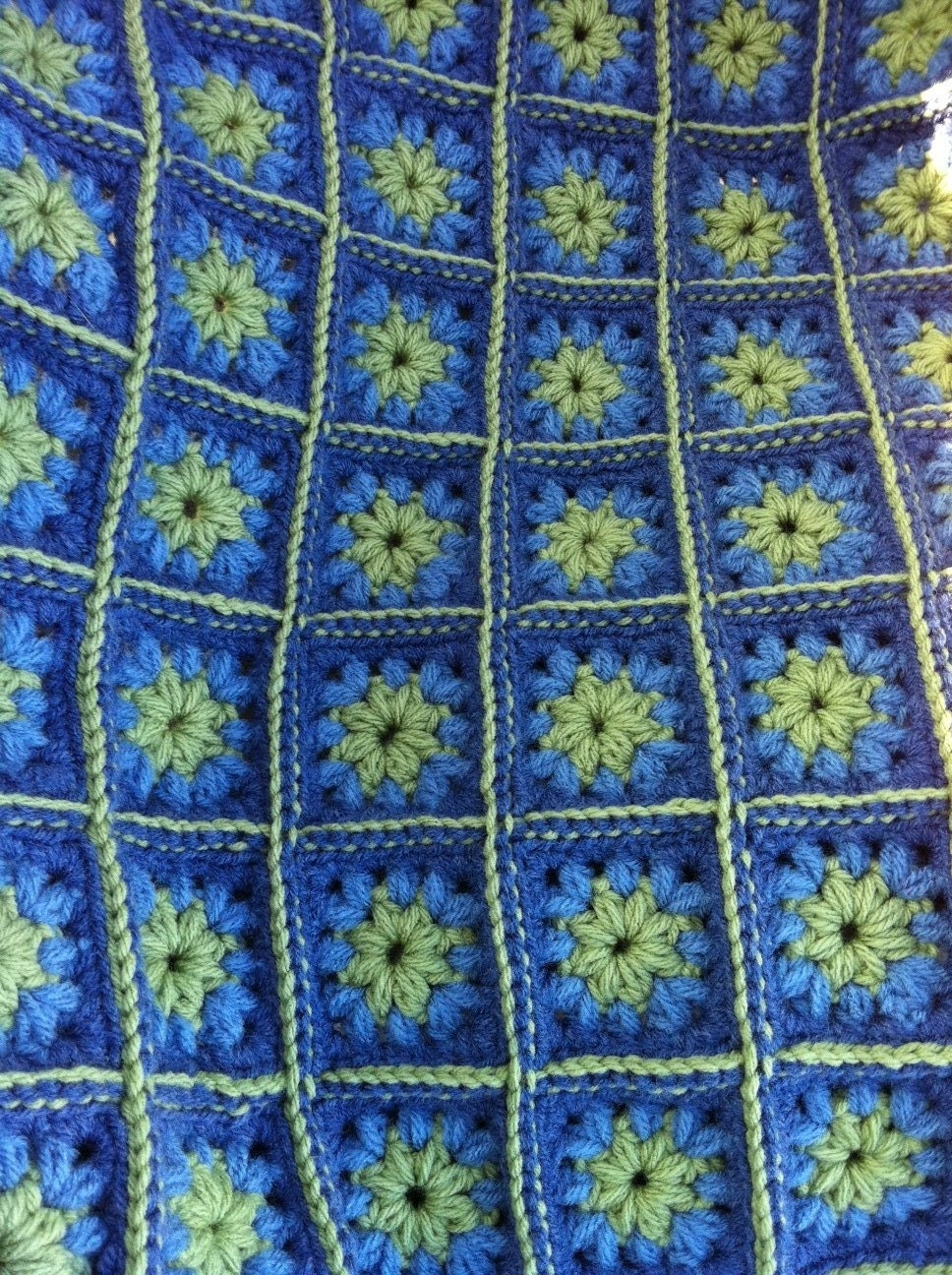 Crocheted Granny Square Afghan Fern Green Bluesready To Ship