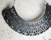 Black Leather lace Necklace Bib - laser cut black leather.