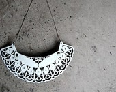 Leather jewelry.  White leather lace necklace. Unusual jewelry.