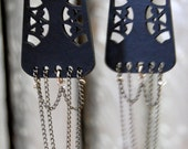 Dangle Earrings, black leather and multi chain