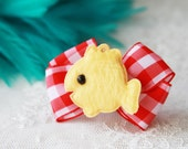 Back To School Boutique Bow Birthday Gift - Fish Ribbon Hairpiece Hair Bow Clip - Hello Kitty Inspired - Red White Check Pattern