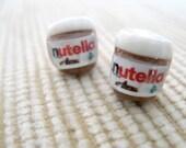 nutella jar miniature post earrings