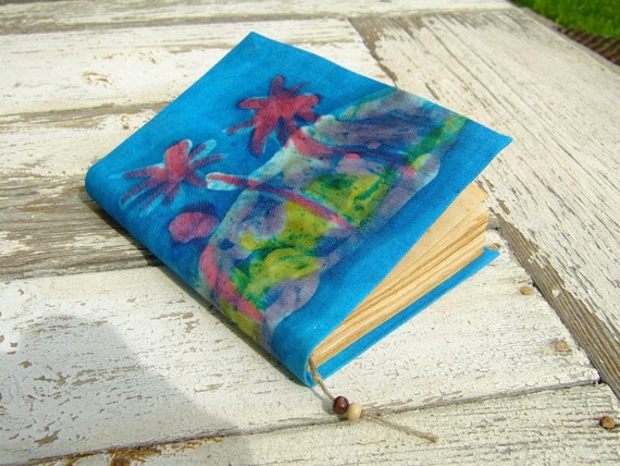 SALE Handmade Journal, diary, magic palm, blue, antiqued paper