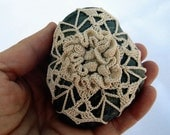 Crocheted Lace Stone, 3D Flower, Star, One of a Kind, Handmade, Ecru Cream Color, Tiny Stitches, Unique Gift