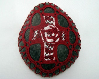 Crocheted Lace Stone Cross, Red and White Cross, 3D Rose, One of a Kind, Handmade, Tiny Stitches, Unique Gift
