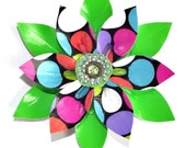 Green and Polka Dot Duct Tape Flower Hair Clip