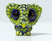 """Designer Toy """"Daisy Owl"""" - Gouldian Finch colorway / purple, green, yellow - mini figure, collectible Resin Toy, Sculpture"""