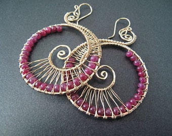 Hammered swirl shapes wrapped with pink ruby Luxe Bijoux 70