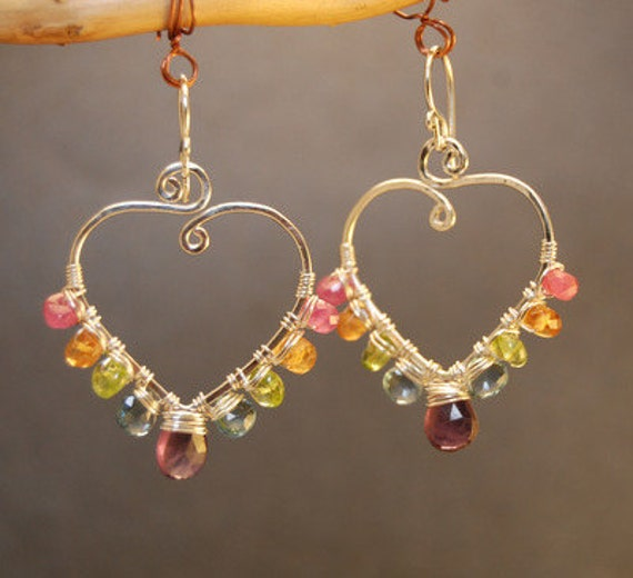 Luxe Bijoux 88 Hammered earrings with ruby, citrine, peridot, tanzanite and amethyst, sterling silver, 14k gold filled