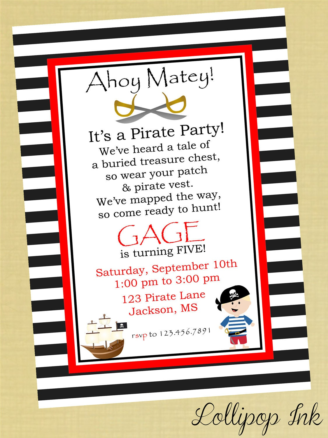 Pirate Invite Wording with great invitations design