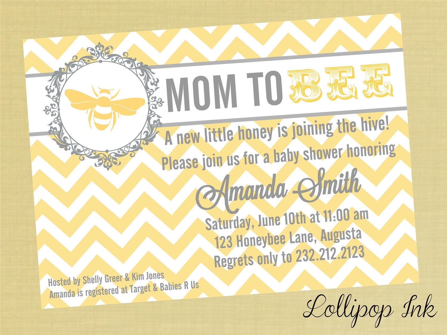 Mommy To Bee Invitations with luxury invitations template