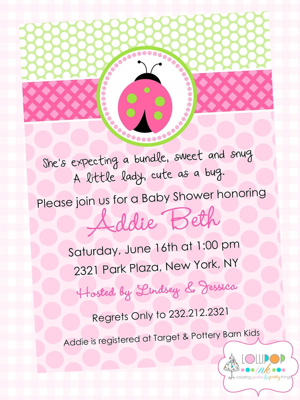 Pink ladybug baby shower printable invitation by lollipopink