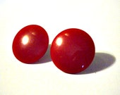 Vintage Coro Button Earrings, Red, Clip On, Mad Men, Mod