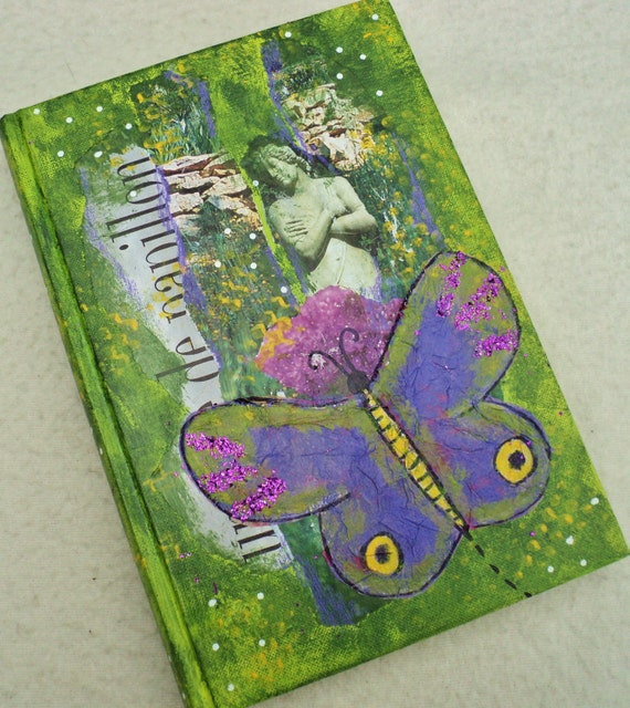 Art journal, handmade mixed media cover, OOAK, original, gift