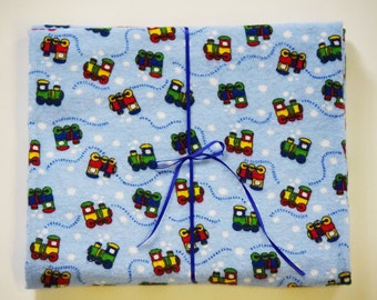 Extra Large Receiving/Swaddle Blanket- Choo Red Blue Green Train Engines 36x42